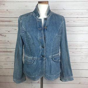 J. JILL Womens Denim Jean Jacket Button Up Sz SM